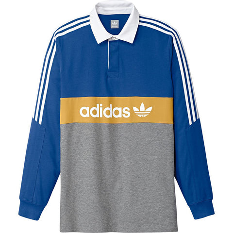 Adidas Skateboarding Heritage Long Sleeve Polo Shirt Collegiate Royal Core Heather Tactile Yellow White DH3912 Adidas Q3 Fall 2018 pure board shop