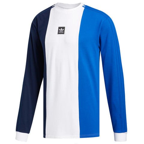 Adidas Skateboarding Tripart Long Sleeve Pique T Shirt Navy White Royal pure board shop