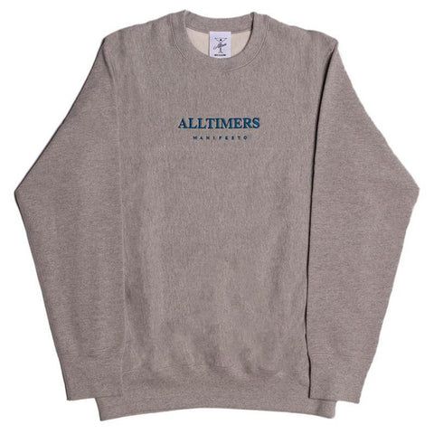 Alltimers Manifesto Premium Crewneck Sweatshirt Heather Grey Alltimers Spring 2018 Drop 1 pure board shop