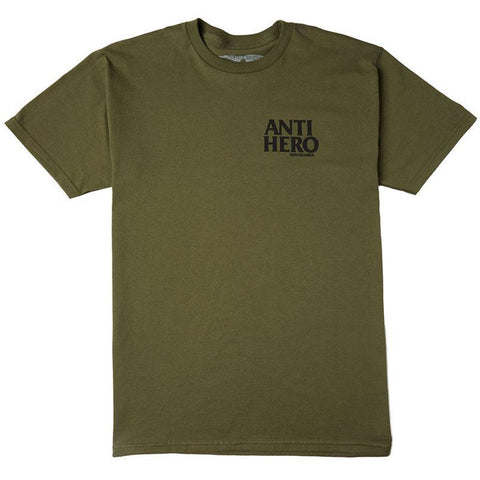 AntiHero Lil Black Hero T Shirt Military Green Black