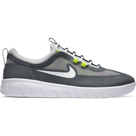 Nike SB Nyjah Free 2 Skate Shoes Smoke Grey White Light Smoke Grey Pure Board Shop