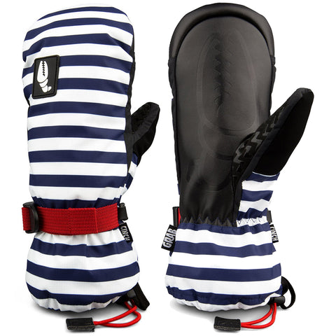 Crab Grab Cinch Womens Snow Mitten Navy Stripe pure board shop