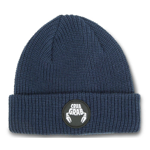 Crab Grab Circle Patch Beanie Navy Pure Board Shop