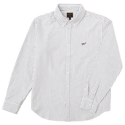 Dark Seas Lamson Long Sleeve Woven Button Down White Navy 311600070_WHNV_1 pure board shop