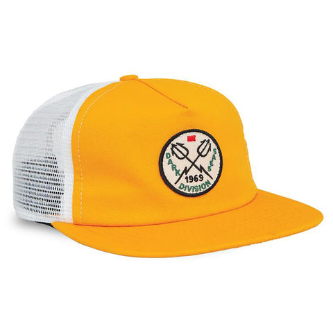 Dark Seas Terrace Trucker Hat Gold White Pure Board Shop