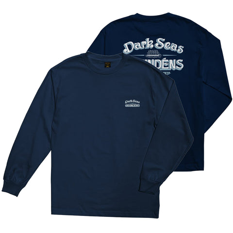 Dark Seas X Grundens Defenders Long Sleeve T Shirt Navy 309000086G NVY Dark Seas Fall 2018 pure board shop