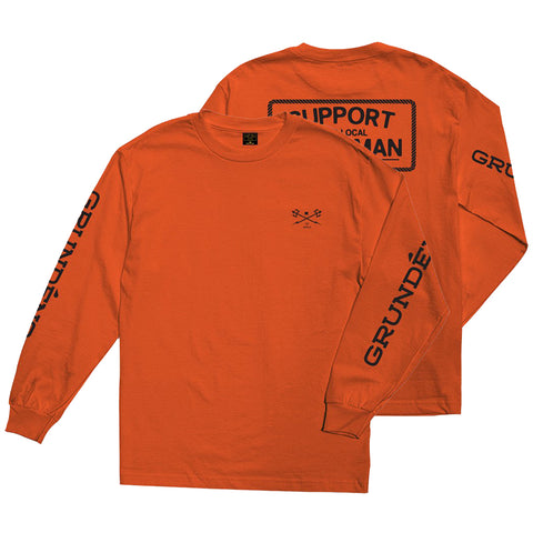 Dark Seas X Grundens Support Long Sleeve t Shirt Orange 309000094G_ORG Dark Seas Spring 2019 pure board shop