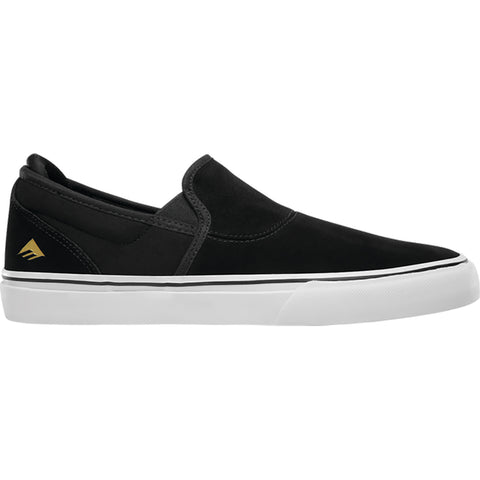 Emerica WIno G6 Slip On Skate Shoes Black White Gold 6101000111-715 pure board shop