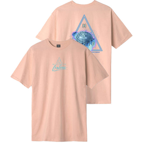 HUF Forbidden Domain T Shirt Coral Pink TS01051_CLPNK_01 pure board shop