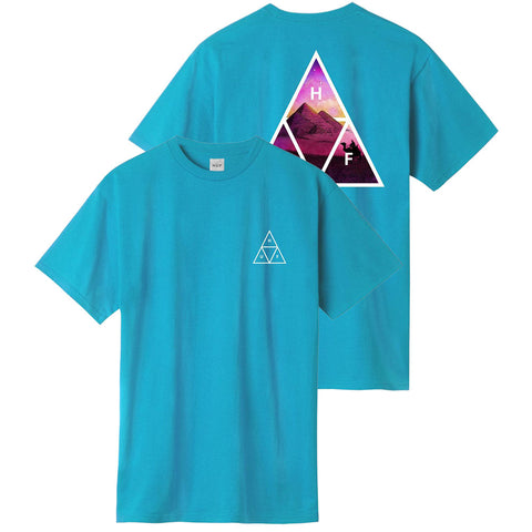 HUF Mirage Triple Triangle T Shirt Turquoise TS01106_TQTUQ_01 pure board shop