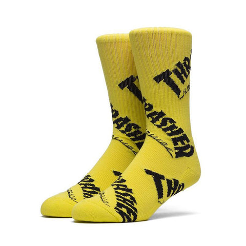 HUF X Thrasher Tour De Stoops Crew Sock Yellow