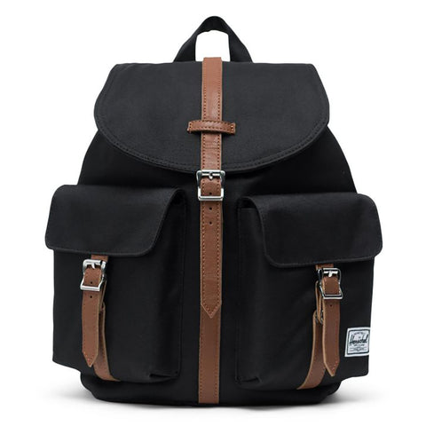 Herschel Supply Co Dawson Small Backpack Black Tan Synthetic Leather 10301-00001-OS_01