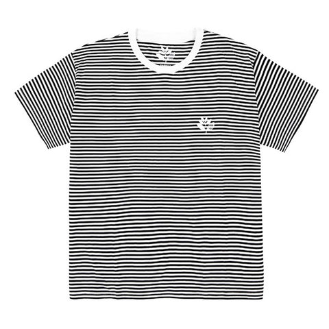 Magenta Striped Plant Knit T-Shirt Black White Pure Board Shop