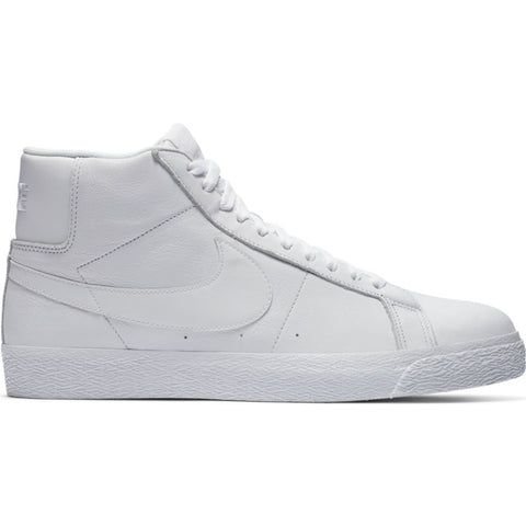 Nike SB Zoom Blazer Mid Skate Shoes White White Leather 864349-105 pure board shop