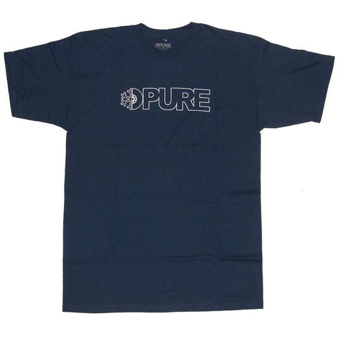 PURE FW Block Outline T Shirt Navy Pure summer 2018 pure board shop