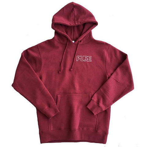 PURE FW Outline Logo Pullover Hoodie Maroon
