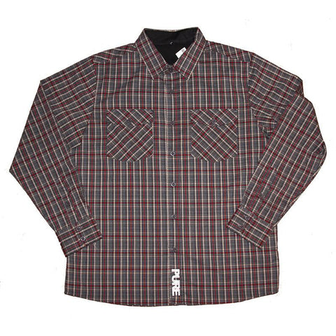 PURE Plaid Long Sleeve Button Down Grey