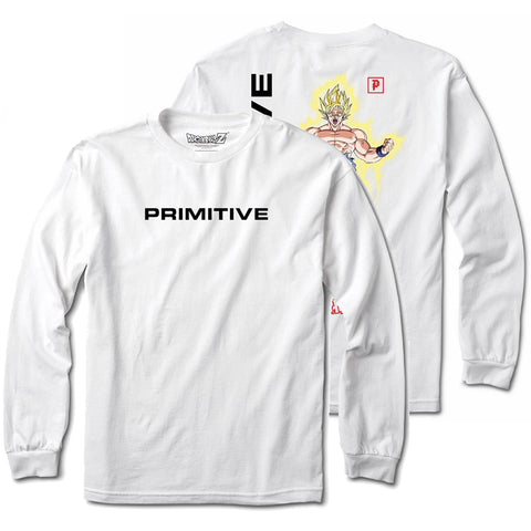 Primitive X Dragon Ball Z Goku Power Up Long Sleeve T Shirt White PAPHO1905WHT Primitive X DBZ Core Holiday 2018 pure board shop