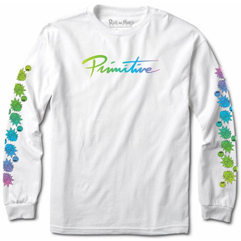 Primitive X Rick and Morty Gradient Nuevo Long Sleeve T Shirt White PAPHO1906WHT Primitive Rick and Morty Core Holiday 2018 pure board shop