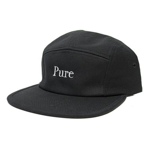 Pure Bodoni 5 Panel Hat Black pure board shop