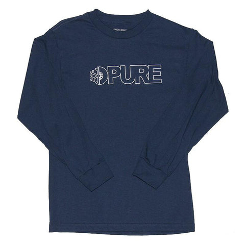 Pure FW Block Outline 2 Long Sleeve T-Shirt Navy pure board shop
