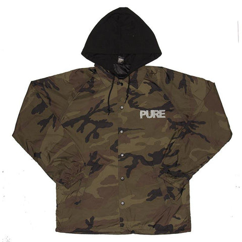Pure FW Spiral Hooded Coaches Jacket Woodland Camo pure board shop