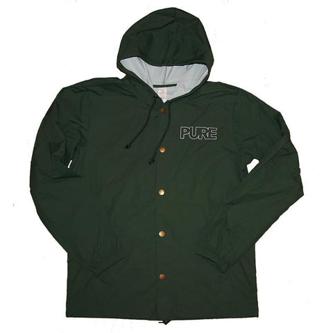 Pure Outline Logo Hooded Jacket Forest Green