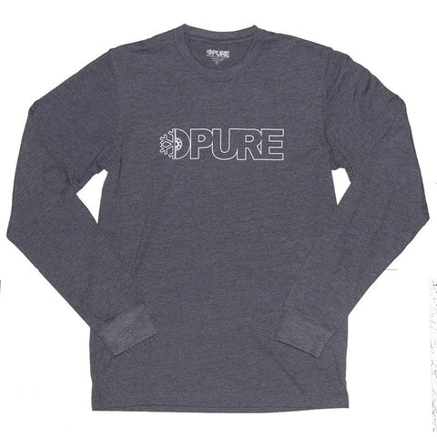 Pure Outline Premium Long Sleeve T-Shirt Navy Heather pure board shop