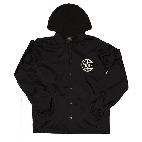 Pure Worldwide 2 Hooded Coaches Jacket Black pure board shop