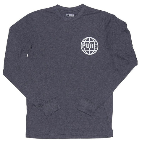 PURE Worldwide 2 Premium Long Sleeve T-Shirt Navy Heather pure board shop