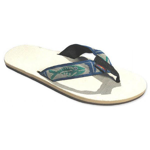 Rainbow Hemp Single Layer Men's Sandals Green Fish