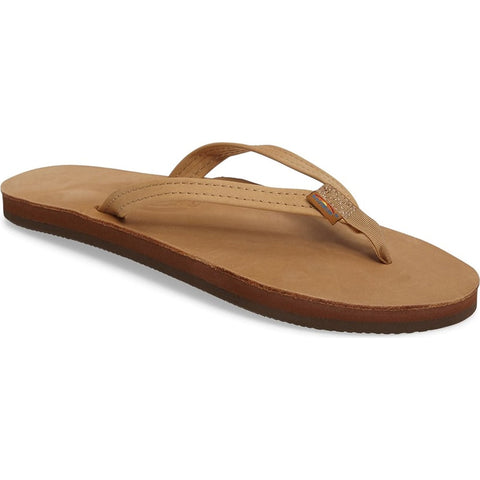 Rainbow Premium Single Layer Leather with Arch Support Narrow Strap Womens Flip Flop Sandal Sierra Brown 301ALTSNSRBR pure board shop