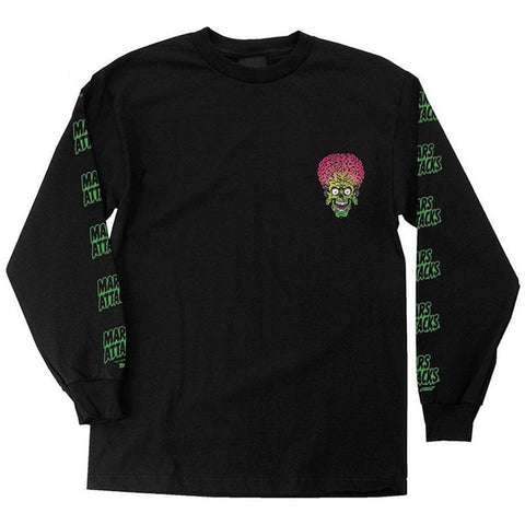 Santa Cruz X Mars Attacks Martian Long Sleeve T-Shirt Black pure board shop