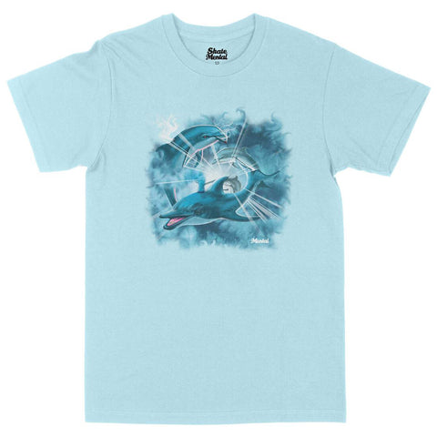 Skate Mental Happy Dolphins T-Shirt Chambray Blue Pure Board Shop