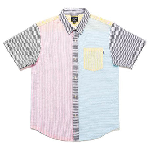 The Quiet Life Patchwork Seersucker Short Sleeve Woven Shirt Multi 20SPD2-2103 pure board shop