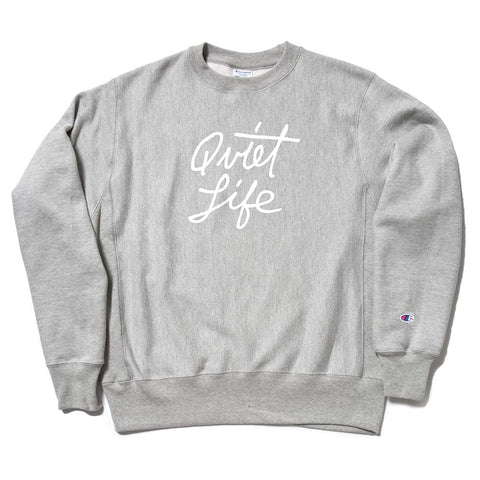 The Quiet Life Cursive Champion Crewneck Sweatshirt Heather Grey The Quiet Life Fall 2018 pure board shop