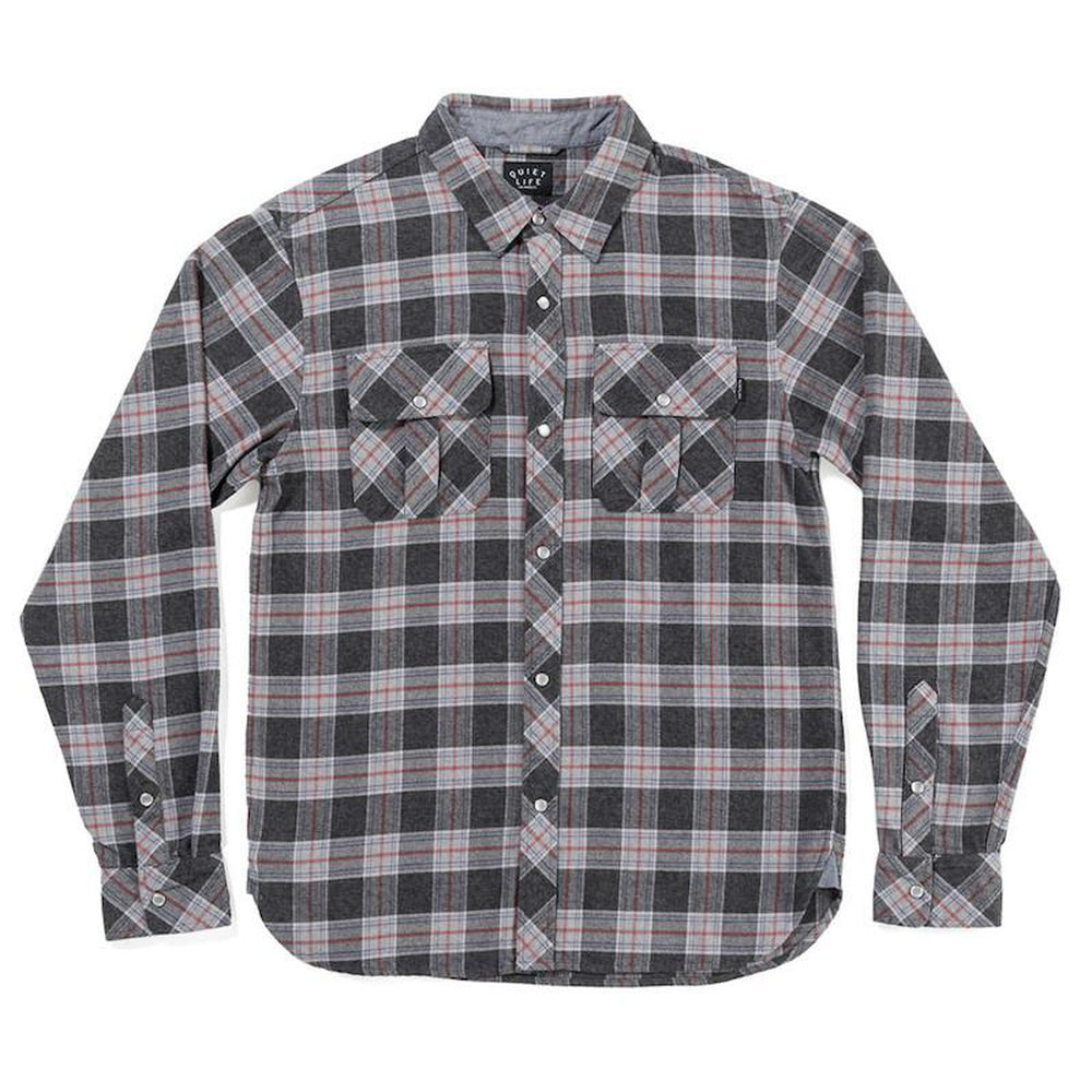 The Quiet Life Flannel Button Down Charcoal Plaid