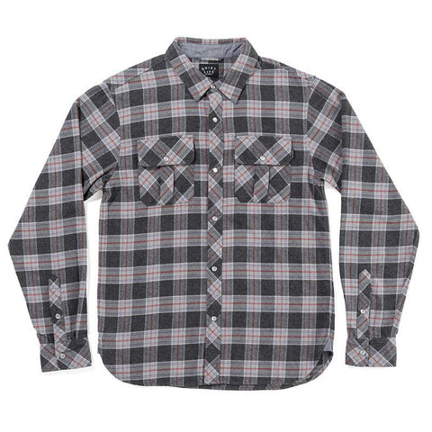 The Quiet Life Flannel Button Down Charcoal Plaid - Pure Boardshop