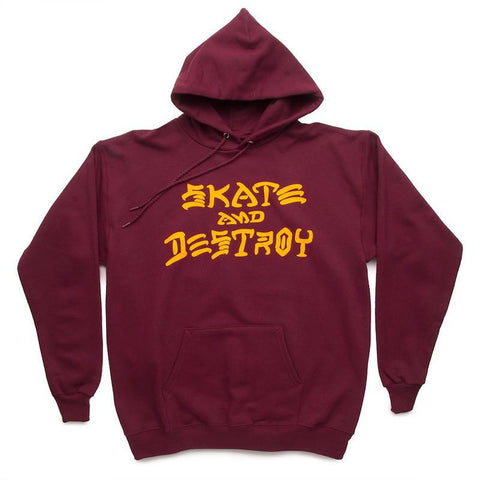 Thrasher Skate and Destroy Pullover Hoodie Maroon