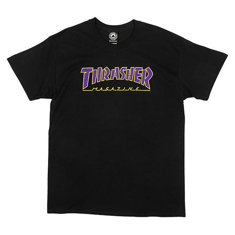 Thrasher Magazine Outlined T Shirt Black Purple pure board shop