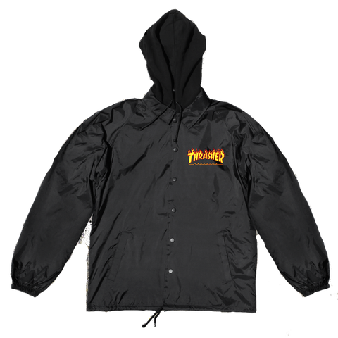 Thrasher Flame Logo Coaches Jacket With Fleece Hood Black