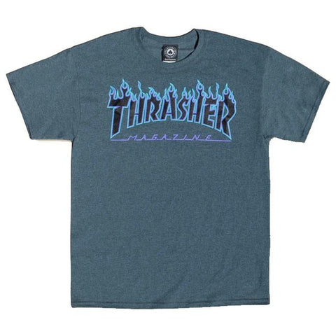 Thrasher Blue Flame Logo T-Shirt Heather Grey
