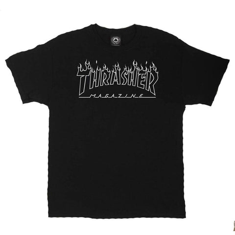 Thrasher Flame Outline T-Shirt black pure board shop