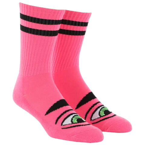 Toy Machine Sect Eye Crew Socks Neon Pink Tum Yeto pure board shop