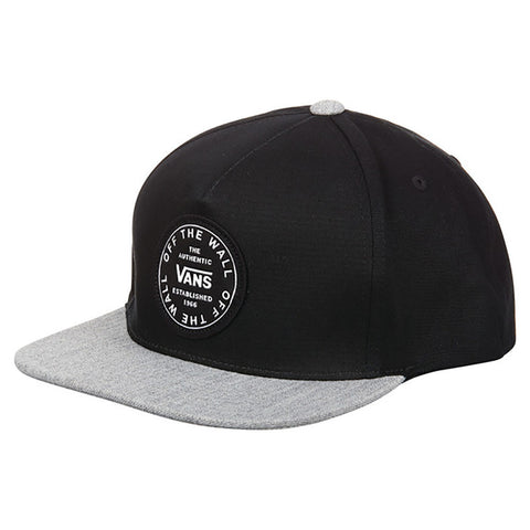 Vans Old Skool Circle Patch Snapback Hat Black Heather Grey VN0A45FFBJ3 pure board shop