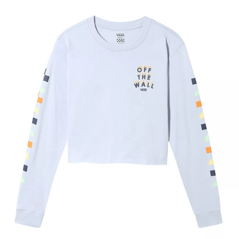 Vans Womens Reign Marker Cropped Long Sleeve T Shirt Zen Blue VN0A4DOMVBY pure board shop