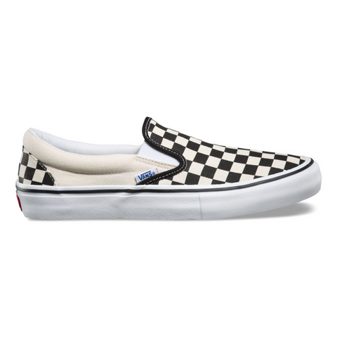 Vans Slip On Pro Skate Shoes Checkerboard Black White Canvas 47VAPK pure board shop