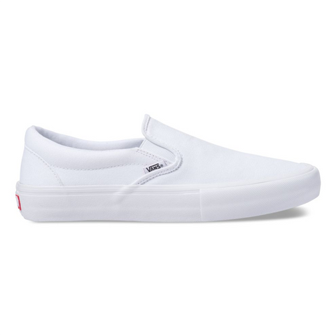 Vans Slip On Pro Skate Shoes White White Canvas 47VWWW pure board shop