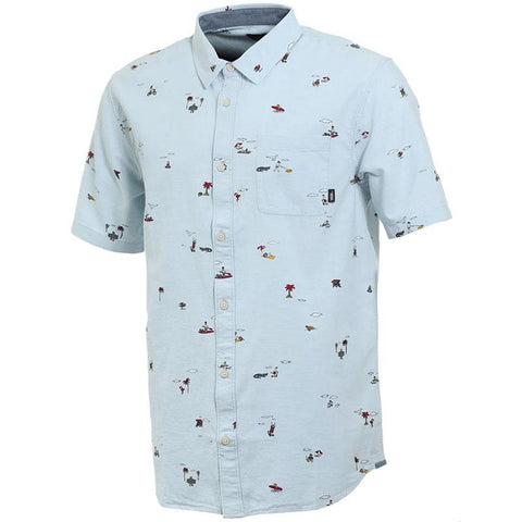 Vans Tres Palmas Short Sleeve Button Down Baby Blue Vans Spring 2018