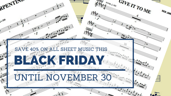 Black Friday 2016 sheet music deals for cover bands, horn sections, rhythm sections, event bands and function bands